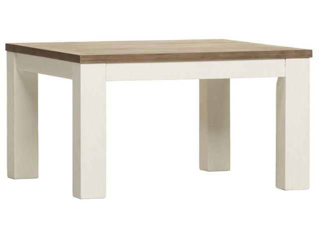 COMFORIUM Table de salle à manger de 220 cm en acacia massif coloris blanc et havana