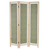 Mendler - Paravent Samsun, cloison de séparation, tissu, ornements, vert, 170x120cm