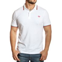 Fred Perry - Polo homme M3600 slim fit blanc logo rouge