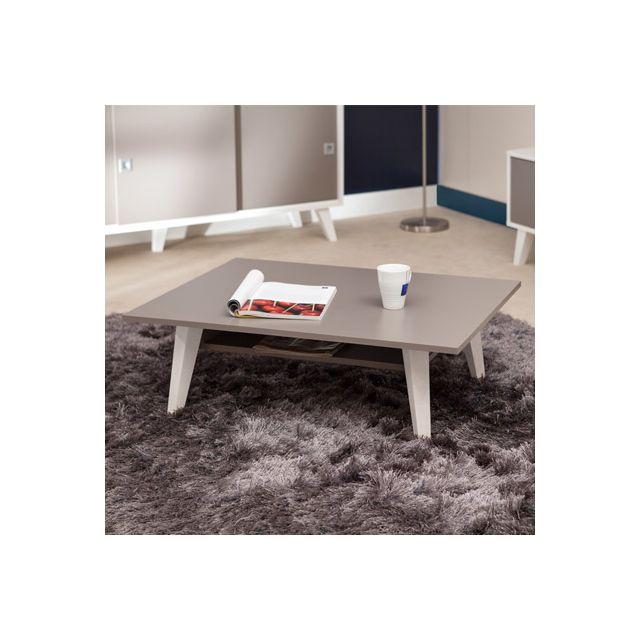 Table basse avec range revue sur pieds inclinés plateau taupe