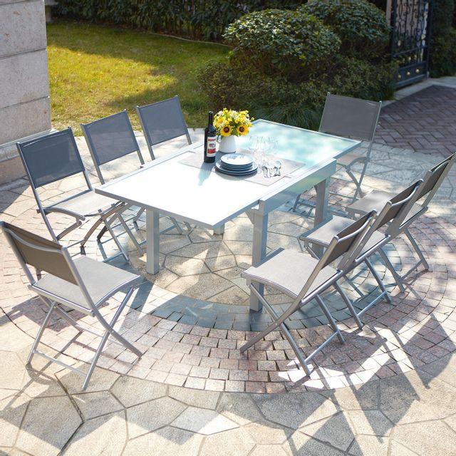 CONCEPT USINE Molvina 8 : table de jardin extensible en aluminium 8 personnes + 8 chaises