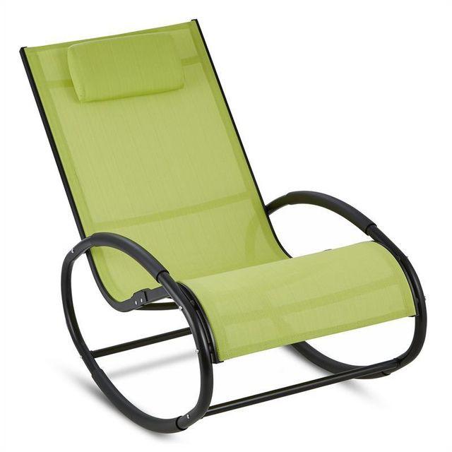 BLUMFELDT Retiro Fauteuil à bascule Rocking chair aluminium & polyester - vert