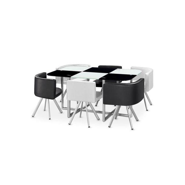 Table à manger verre + 6 chaises noir et blanc CORNER XL