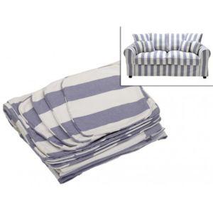 vente unique housse de canap 2 places en tissu clara ray bleu et blanc pas cher achat. Black Bedroom Furniture Sets. Home Design Ideas