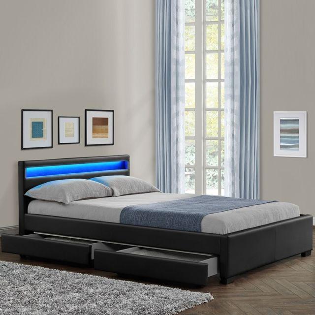 MEUBLER DESIGN Lit design Rona - Noir - 160x200