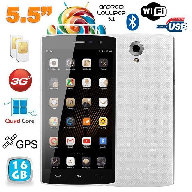 Yonis Smartphone Android 5.1 Quad Core 5.5 pouces Double Sim Blanc 16Go