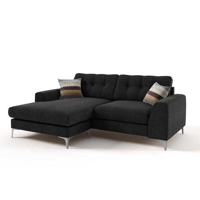 HABITAT ET JARDIN Canapé d'angle tissu Bergen - 3/4 places - Coloris noir