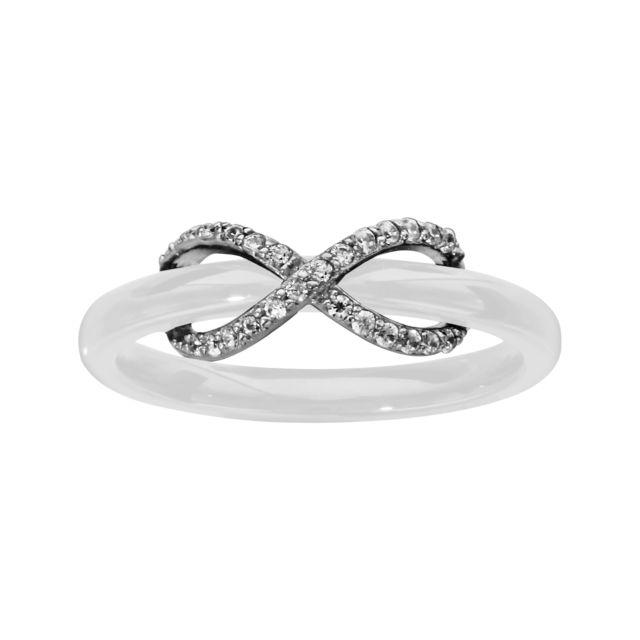 Sochicbijoux - So Chic Bijoux © Bague Symbole Infini Céramique Blanche Oxyde  de Zirconium Blanc Argent 51616b43062d