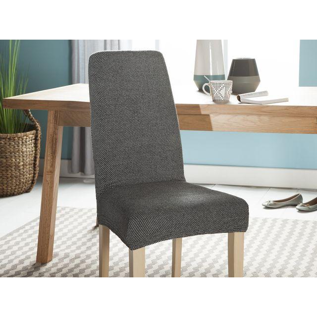 dlm housse de chaise unie extensible effet nid d 39 abeille. Black Bedroom Furniture Sets. Home Design Ideas