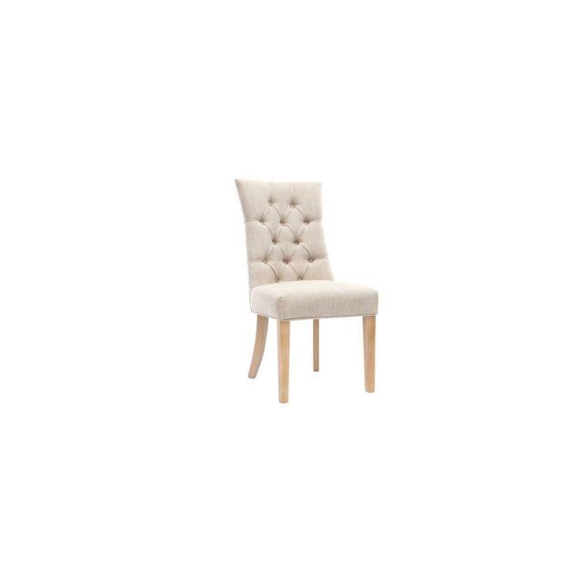 Miliboo Chaise classique tissu naturel pied bois clair Voltaire
