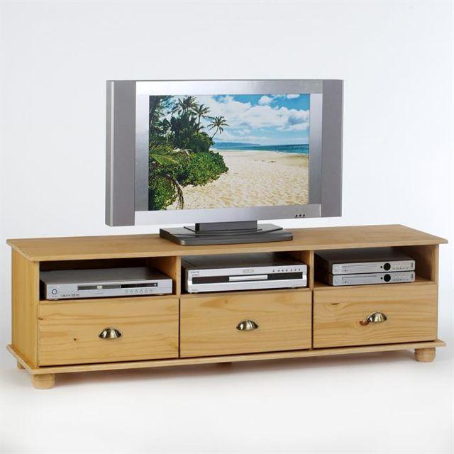 Idimex Meuble Tv Banc Tv Vintage Colmar Pin Massif Ciré Vernis