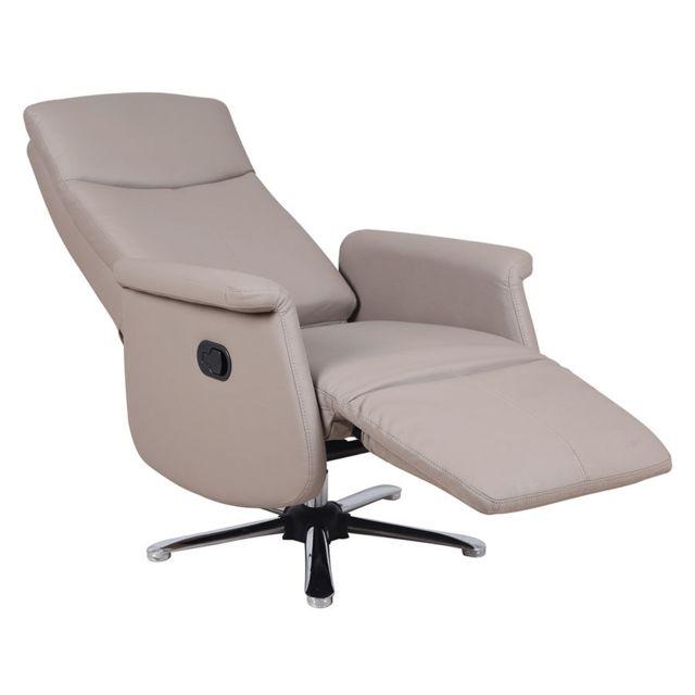 Sofamobili Fauteuil de relaxation en Pu gris foncé manuel Ruxy, 2 coloris