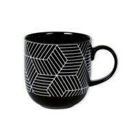 Bruno Evrard - Mug motifs graphiques en porcelaine 32cl - Lot de 6 - Porcelaine - Blanc, Noir