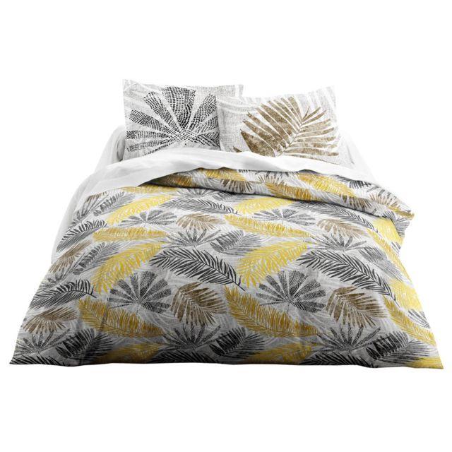 today parure housse de couette taies 100 coton feuille tropicale 240x220cm jaune noir. Black Bedroom Furniture Sets. Home Design Ideas