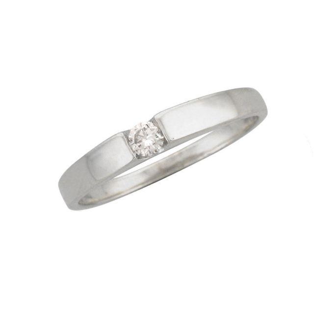 Carashop Bague Solitaire Or Blanc 9ct Et Diamant Pas Cher Achat