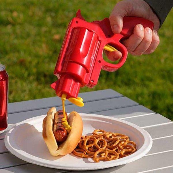 Totalcadeau Pistolet distributeur de sauces avec deux compartiments - Condiment