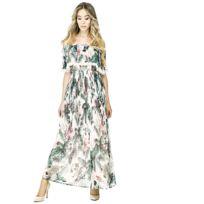 Guess - Robe Longue Femme Vanessa Imprimé Nature Multicolore - Taille - S dddc06bff36c