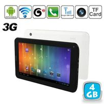 Tablette tactile 3G Android 4.0 7 pouces Gsm WiFi 3D Hd 4 Go Blanc