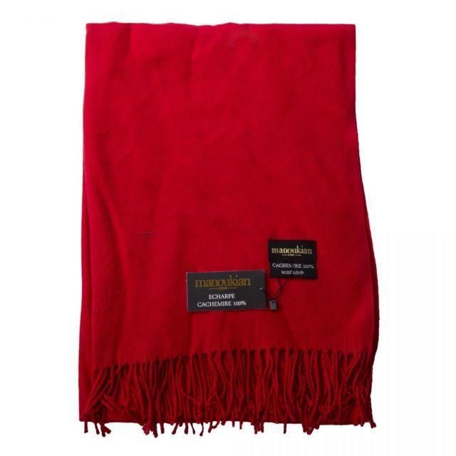 1f7653211a00 Manoukian - Écharpe en cachemire homme Rouge - pas cher Achat   Vente  Echarpes, foulards - RueDuCommerce