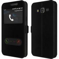 Cabling - Coque Etui Pochette Folio Housse Fenêtre Noir Galaxy S7 Edge - Contour IntÉRIEUR Silicone Incassable
