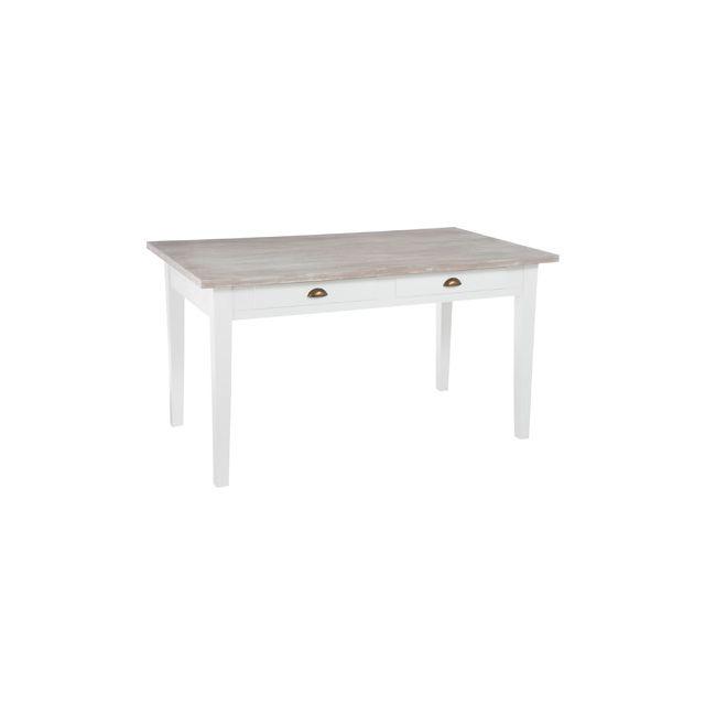 Table à manger en bois coloris blanc 145x85x80cm