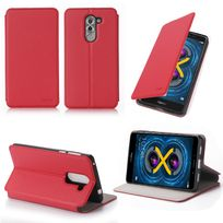 Xeptio - Etui coque luxe Huawei Honor 6X 4G rouge Ultra Slim avec stand - Housse pochette