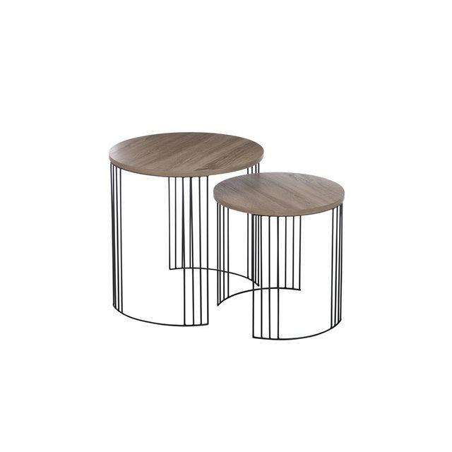 Set de 2 tables gigognes rondes en bois et métal