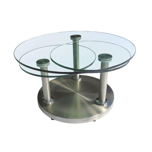 Tousmesmeubles Table basse articulée verre et métal - Trygo
