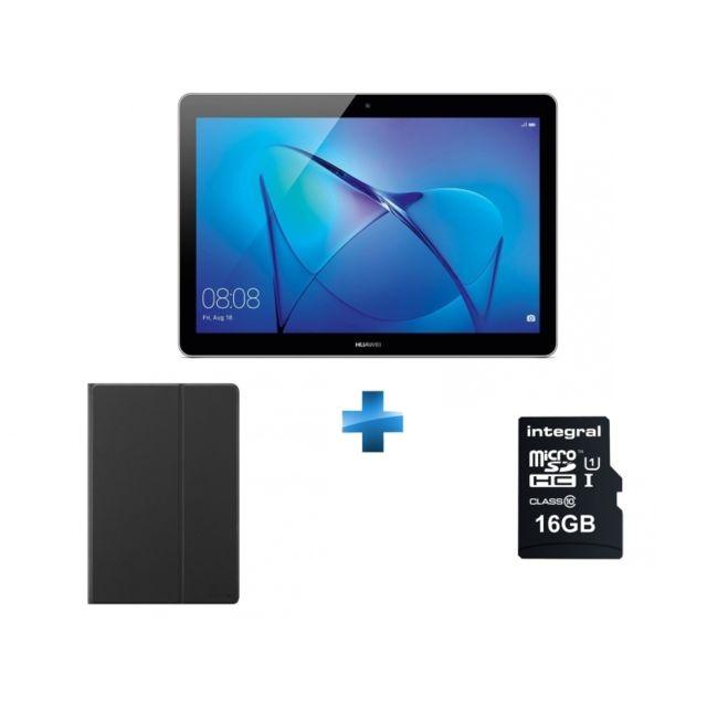 HUAWEI - MediaPad T3 10 - 9.6'' HD IPS - 16 Go - Gris + Ultima pro - Carte mémoire Micro SDHC 16Go Class 10 - 90 MB/S + Cover T3 10'' Flip Cover Black