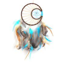 Lanitta - Attrape-rêve Indien bleu, marron, double anneau en métal avec véritables plumes et perles