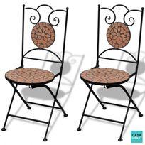 Casasmart - Lot de 2 chaises en terre cuite mosaïque