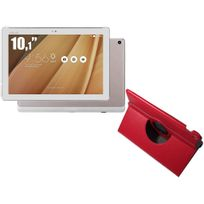 ZenPad Z300M - 10,1'' IPS - 16 Go - Wifi - Rose Gold + Etui rotatif Rouge pour ZenPad 10