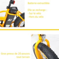 Vélo à assistance électrique Vae adulte fatbike pliable 36 volt orange ville et tout terrain