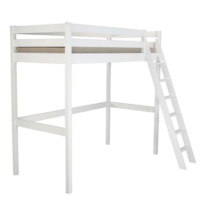 alin a alpin lit mezzanine 1 place blanc avec sommier 90x200cm pas cher achat vente lit. Black Bedroom Furniture Sets. Home Design Ideas