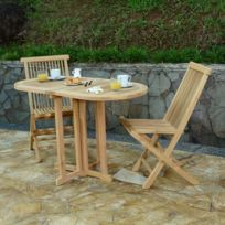Salon de jardin en teck Ecograde Tahiti, table pliante 120 x 60 cm + 2  chaises Java