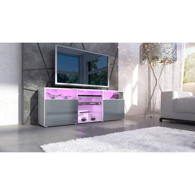 Mpc Meuble design tv blanc et gris avec led