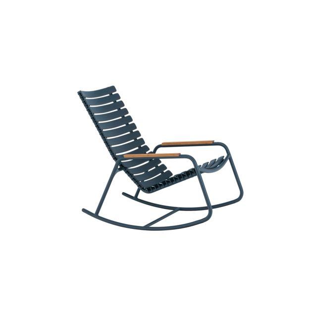 HOUE Chaise à bascule Clips - Accoudoir bambou - Aluminium bleu nuit - bleu nuit