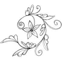 Magenta - Tampon en bois Branche fleurie