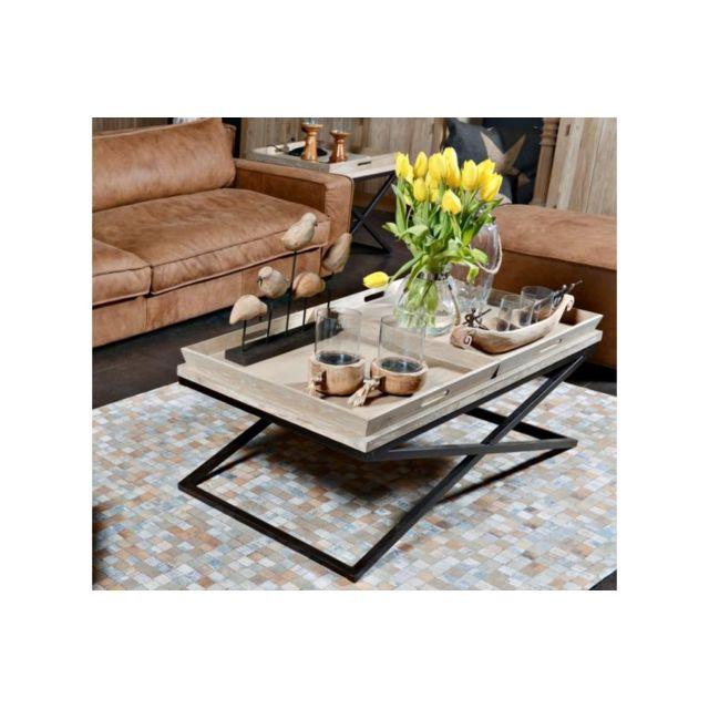 HELLIN Table basse Guillaume - bois chêne massif et métal