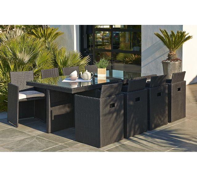 Salon de jardin 8 fauteuils encastrables noir
