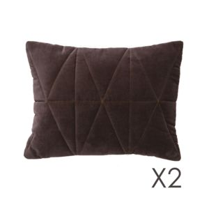 Autre - Lot de 2 Coussins velours piqué brown 30x40 Bloomy Marron - 40cm x 30cm