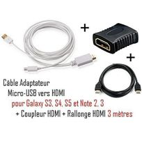 Cabling - Cable Adaptateur micro usb vers hdmi Mhl pour telephone samsung galaxy S4 - Samsung Infuse 4G - galaxy Nexus - Premium qualité - Blanc + coupleur Hdmi + cable Hdmi 3M