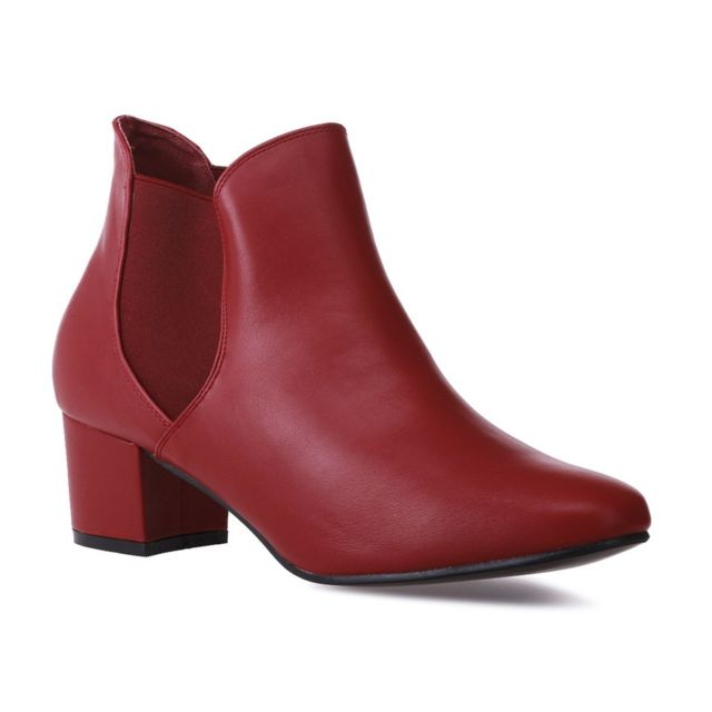 Lamodeuse Bottines chelsea rouges à talon grande taille 44