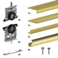 Slid'UP By Mantion - Kit Slid'UP 220 aluminium anodisé or pour 3 portes de placard coulissantes 18 mm - rail 2,7 m - 70 kg