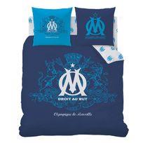 Cti - Parure housse de couette + taie d'oreiller coton/polyster logo bleu Om - 240x220cm