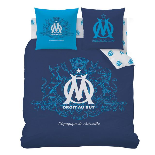 soldes disney parure housse de couette taie d 39 oreiller coton polyster logo bleu om. Black Bedroom Furniture Sets. Home Design Ideas