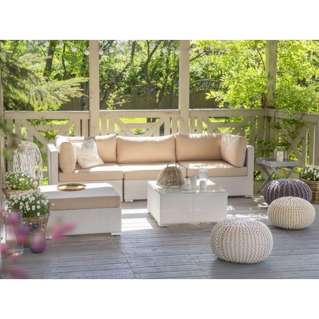 BELIANI - Salon de jardin en rotin blanc - coussins blancs beige ...