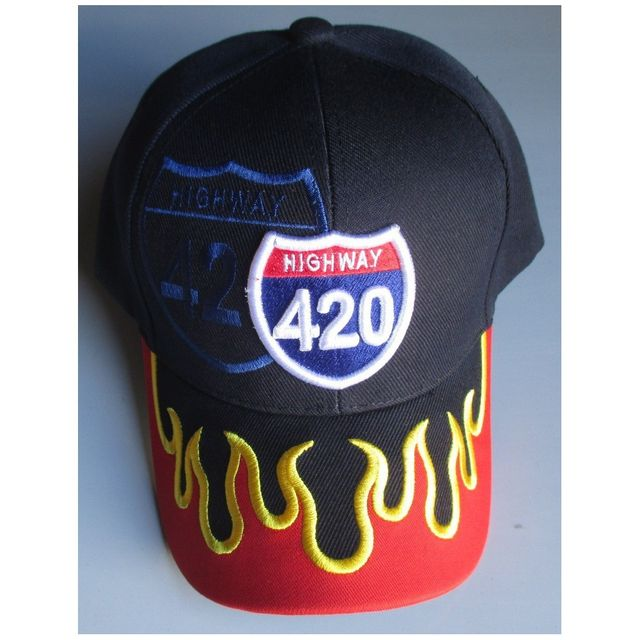 Universel Casquette highway 420 bleu flamme orange homme biker usa