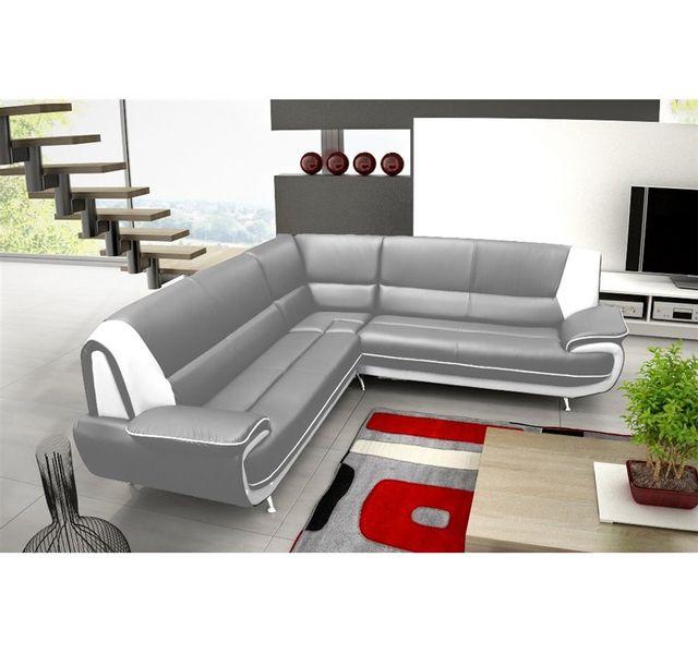 CHLOE DESIGN Canapé d'angle jenna xxl - reversible - gris et blanc - Réversible