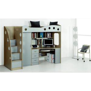 chloe decoration lit multifonction avec placard et bureau domi gris pas cher achat vente. Black Bedroom Furniture Sets. Home Design Ideas